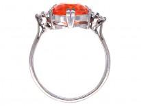Art Deco Platinum, Diamond & Fire Opal Ring