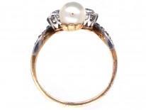 Art Nouveau 18ct Gold, Diamond & Natural Pearl Ring