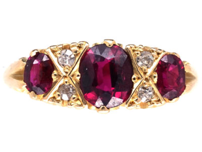 Victorian Three Stone Ruby & Diamond Carved Half Hoop Ring