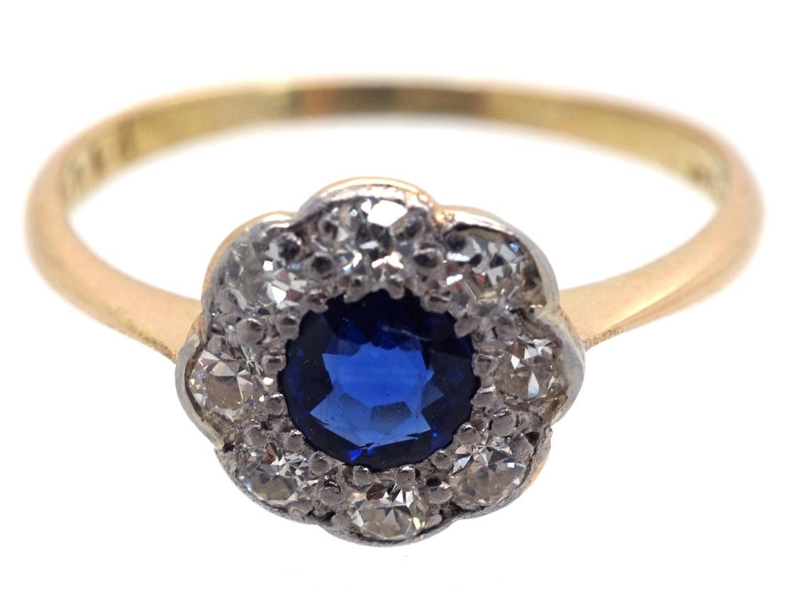 Edwardian Sapphire & Diamond Daisy Cluster Ring