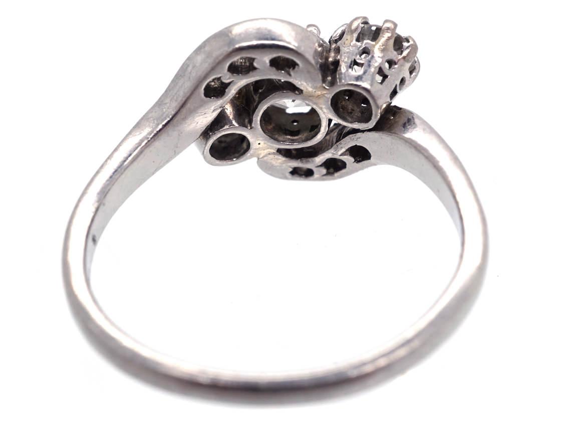 Edwardian Platinum & Three Stone Diamond Crossover Ring