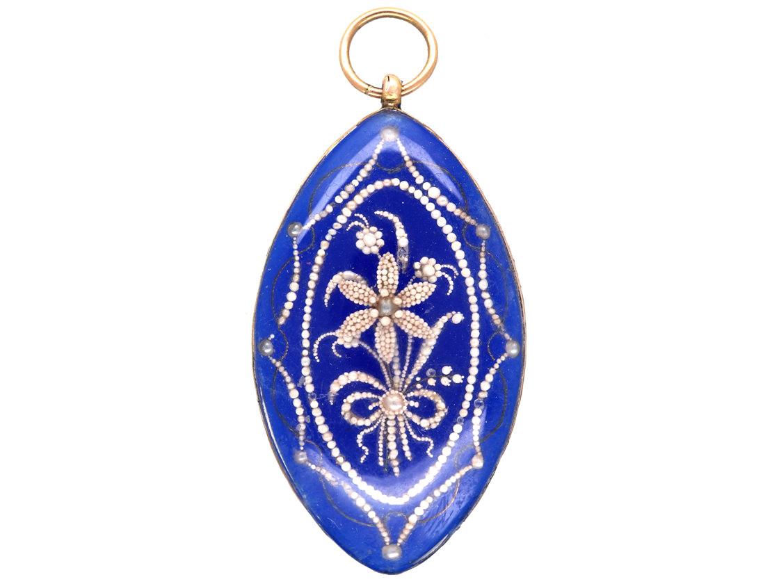 Georgian Blue Glass & Seed Pearl Navette Shaped Pendant in Original Case