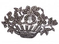 Art Deco Silver & Marcasite Flowers in Basket Brooch