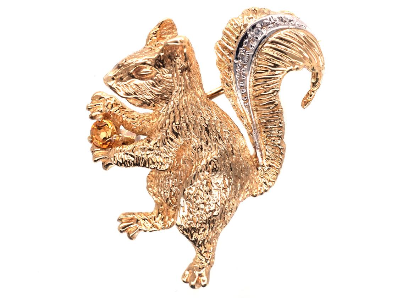 9ct Gold & Diamond Squirrel Brooch