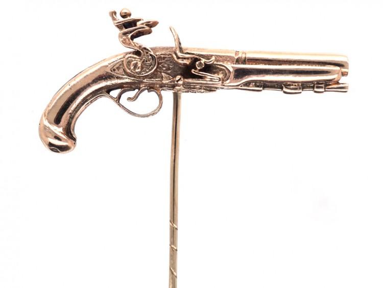 9ct Gold Flint Lock Pistol Stick Pin