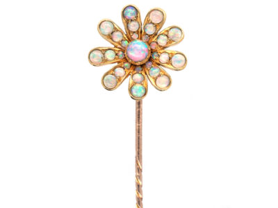 Edwardian 15ct Gold & Opal Flower Stick Pin