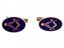 9ct Gold Masonic Blue Enamel Cufflinks