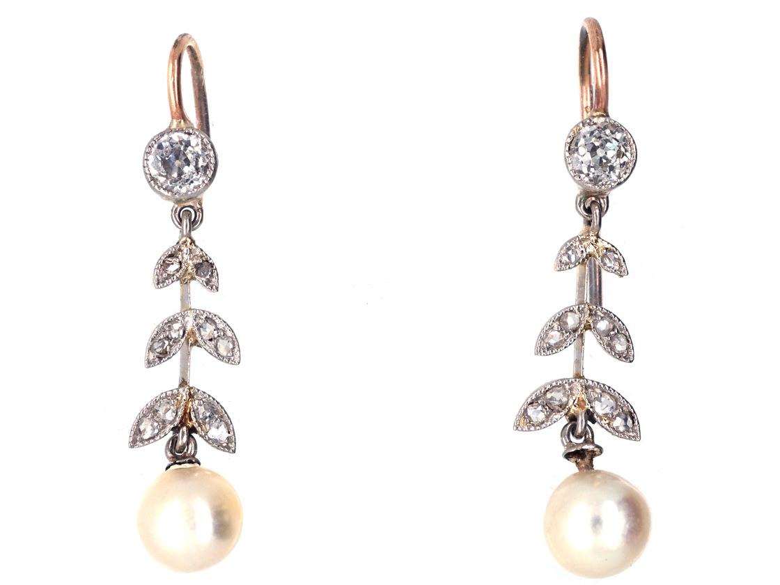 Edwardian Natural Pearl & Diamond Drop Earrings