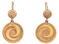 Regency 18ct Gold Swirly Double Drop Earrings