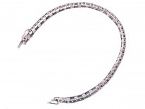 Art Deco Silver Black & White Faceted Paste Bracelet