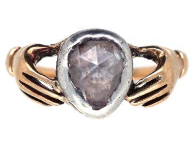 Georgian Hands & Heart Rose Fede Diamond Ring