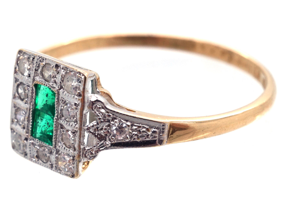 Art Deco 18ct Gold & Platinum, Emerald & Diamond Ring