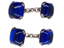 Silver & Blue Synthetic Sapphire Cufflinks