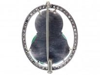 Art Deco Jade & Diamond Buddha Brooch