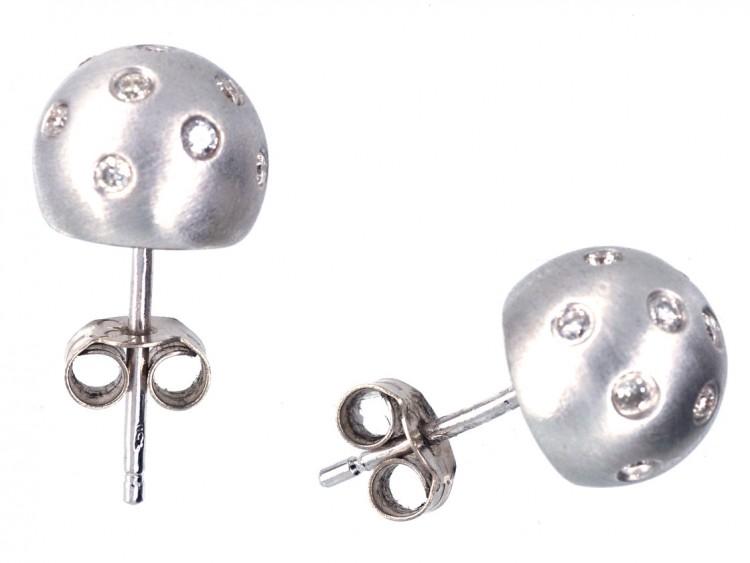 18ct White Gold & Diamond Ball Earrings