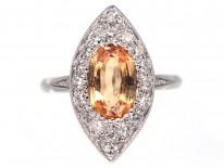 Edwardian Topaz & Diamond Marquise Ring