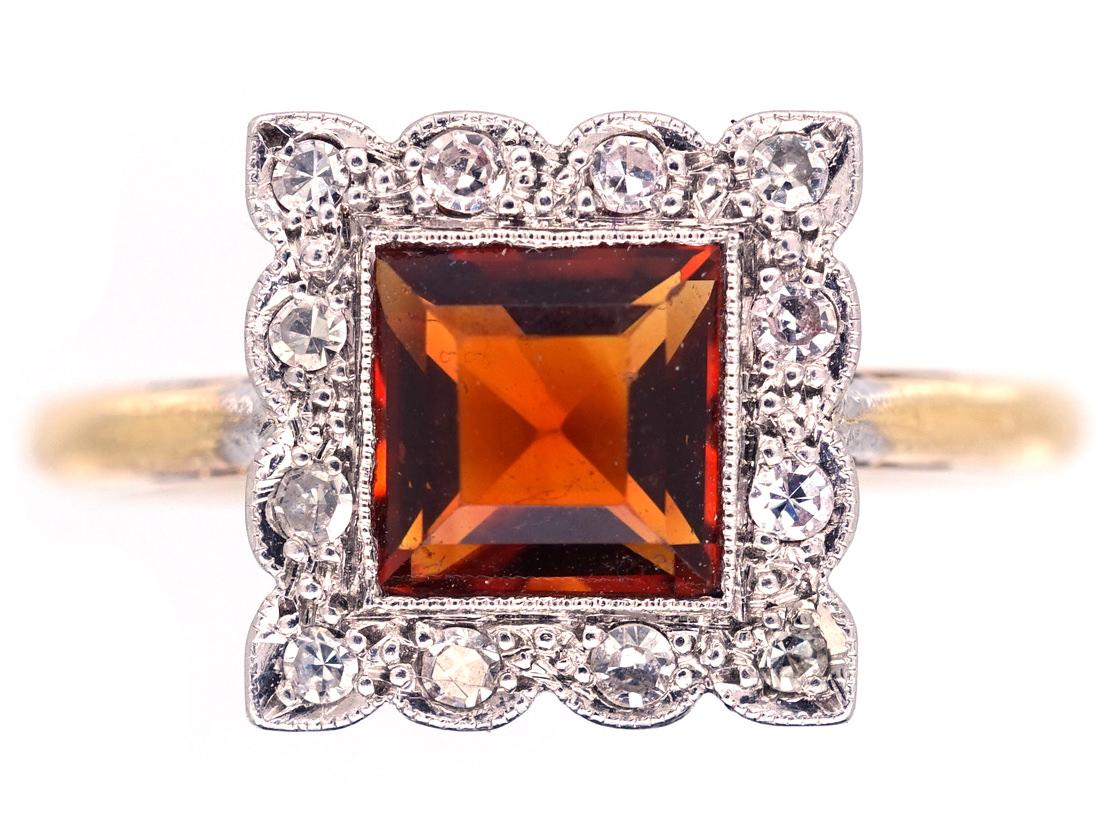 Art Deco Diamond & Citrine Square Ring