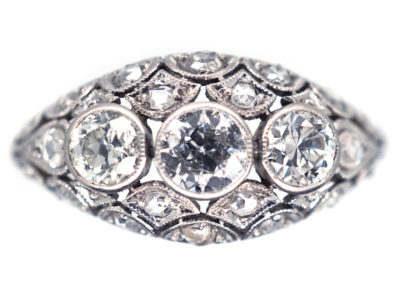 Art Deco Diamond Three Stone Diamond Boat Shaped Ring