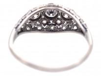 Art Deco Diamond Three Stone Diamond Boat Shaped Ring