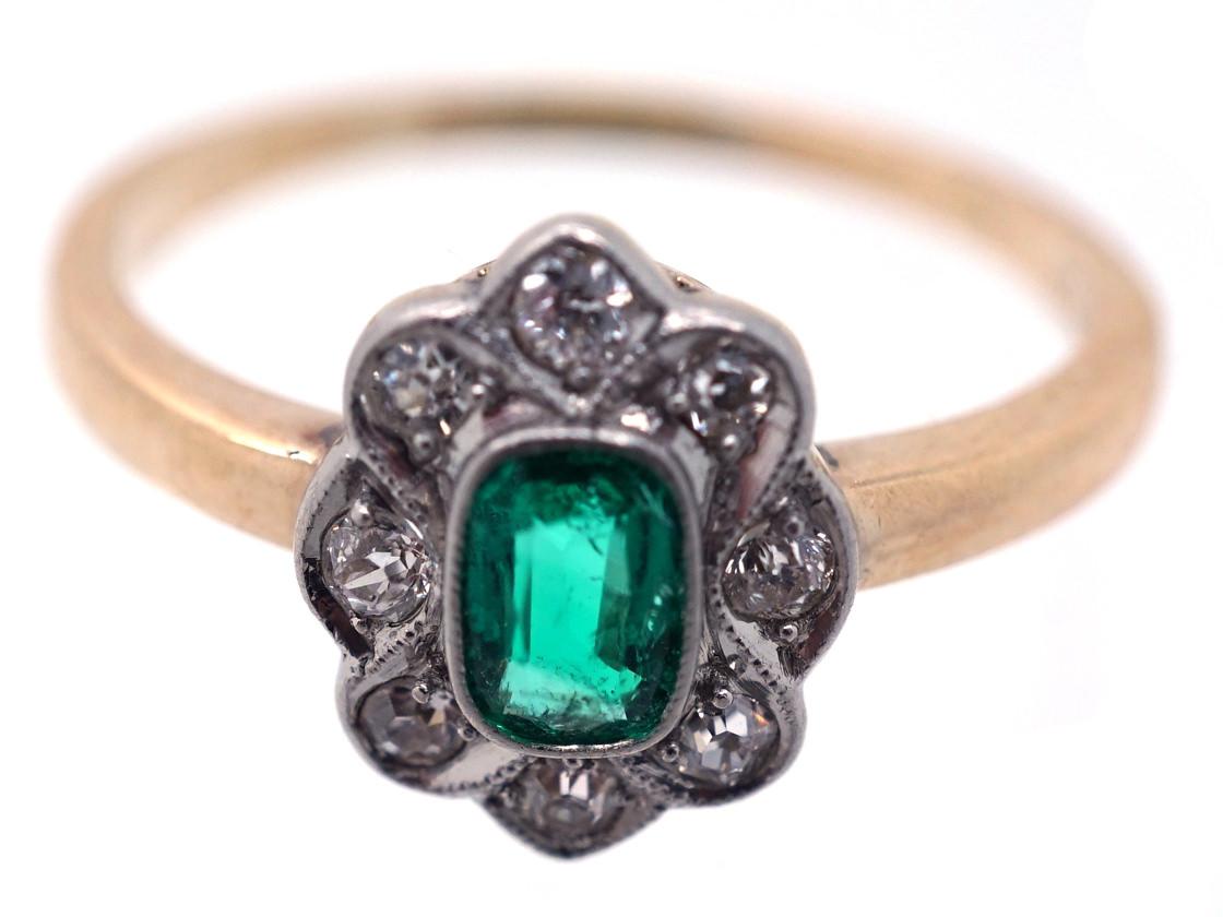 Edwardian 14ct Gold & Platinum, Emerald & Diamond Oval Cluster Ring
