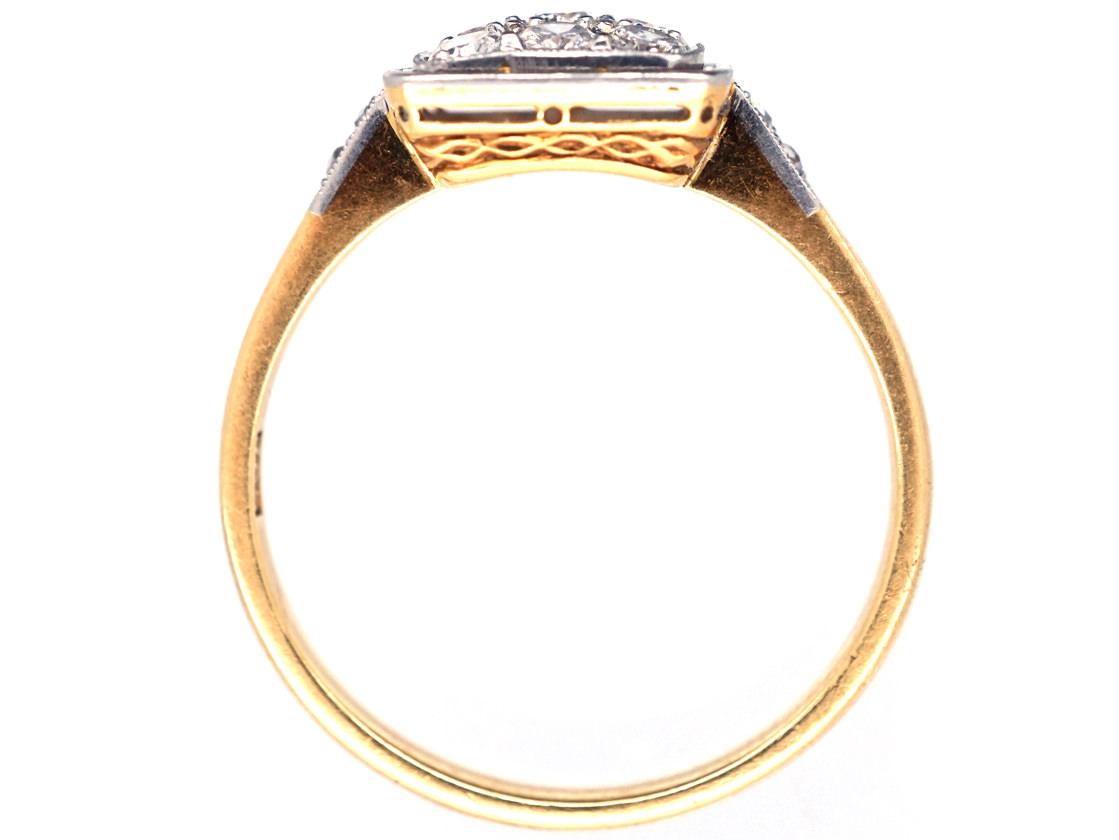 Art Deco 18ct Gold & Platinum Diamond Set Square Ring