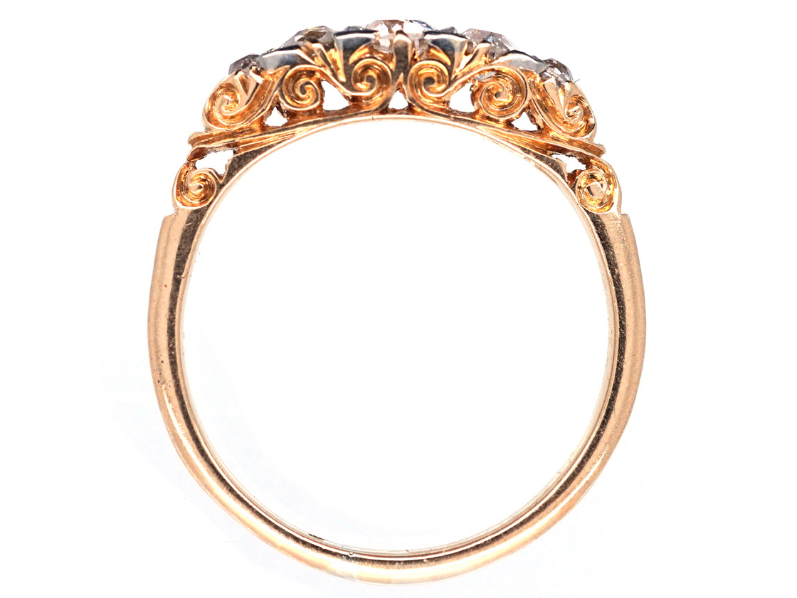 Victorian 18ct Gold Five Stone Diamond Carved Half Hoop Ring