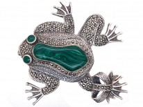 Large Silver, Marcasite & Malachite Frog Brooch