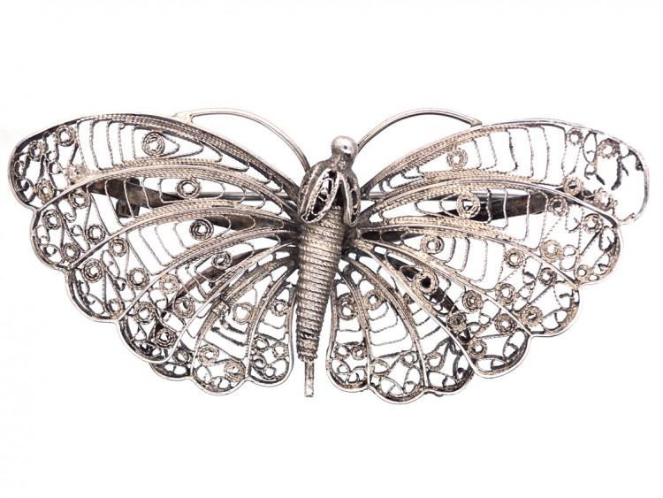 Filigree Silver Butterfly Brooch