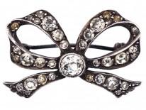 Edwardian Silver & Paste Bow Brooch