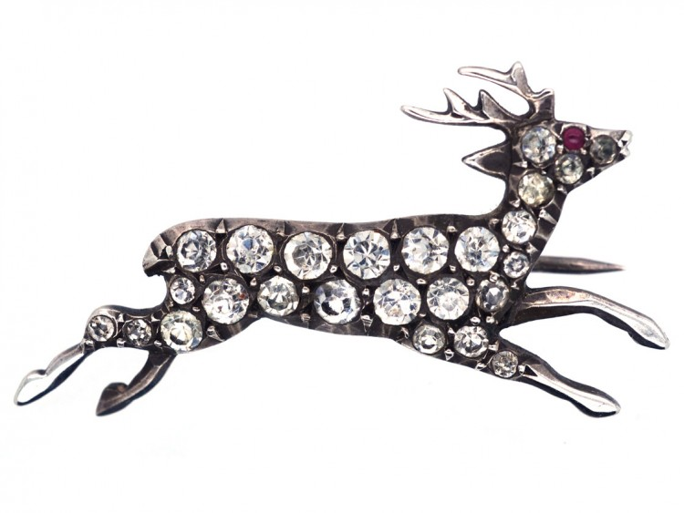 Edwardian Silver & Paste Stag Brooch