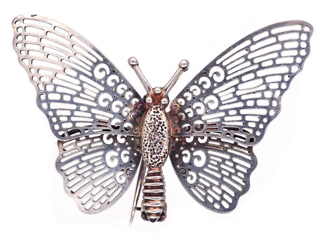 Silver Pierced Work Butterfly Brooch