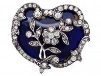 Edwardian Silver, Paste & Blue Glass Brooch