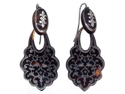 Victorian Tortoiseshell Pique Drop Earrings