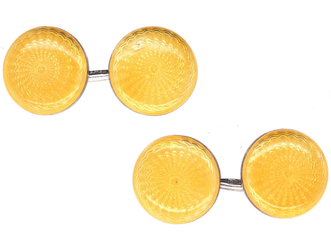 Edwardian Silver & Yellow Enamel Round Cufflinks