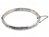 Narrow Silver Engraved Bangle