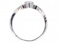 Diamond Three Stone Ring with Diamond Foliate Shoulders
