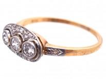 Art Deco Three Stone Diamond Ring with Rose Diamond Detail