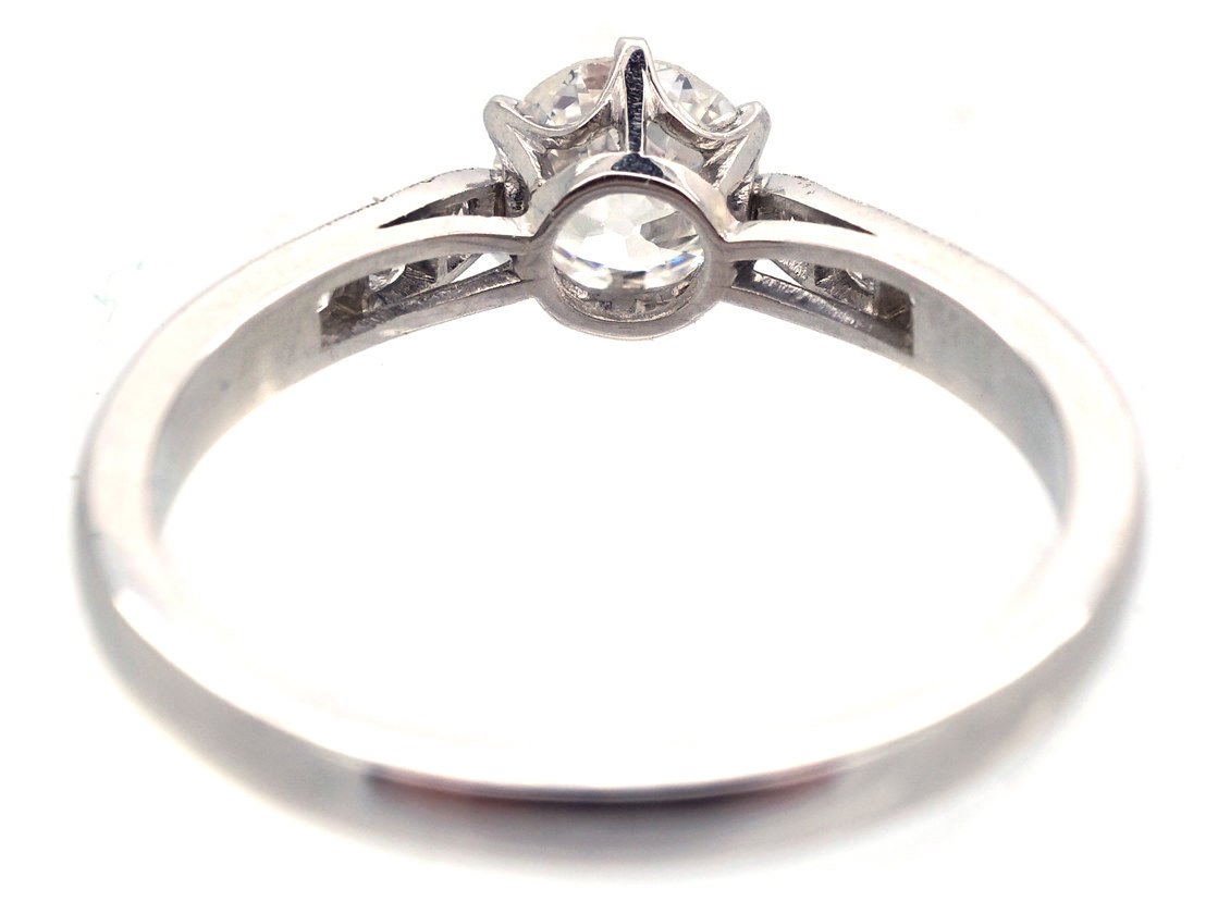 Diamond Solitaire Ring with Diamond Shoulders