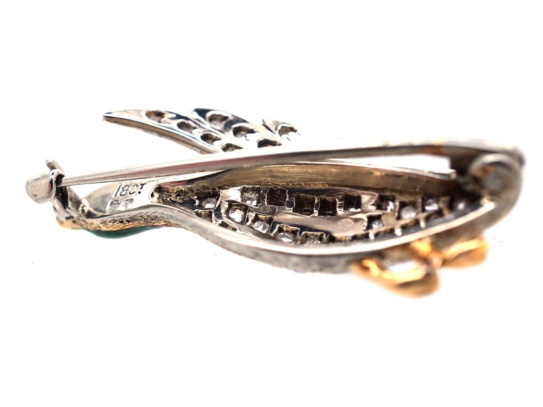 Edwardian 18ct White Gold, Diamond & Enamel Flying Duck Brooch