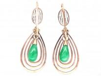 Art Deco Gold & Jade Drop Earrings