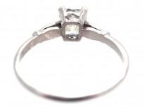 Radiant Cut Diamond Ring with Diamond Shoulders