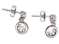 Art Deco Diamond Two Stone Drop Earrings