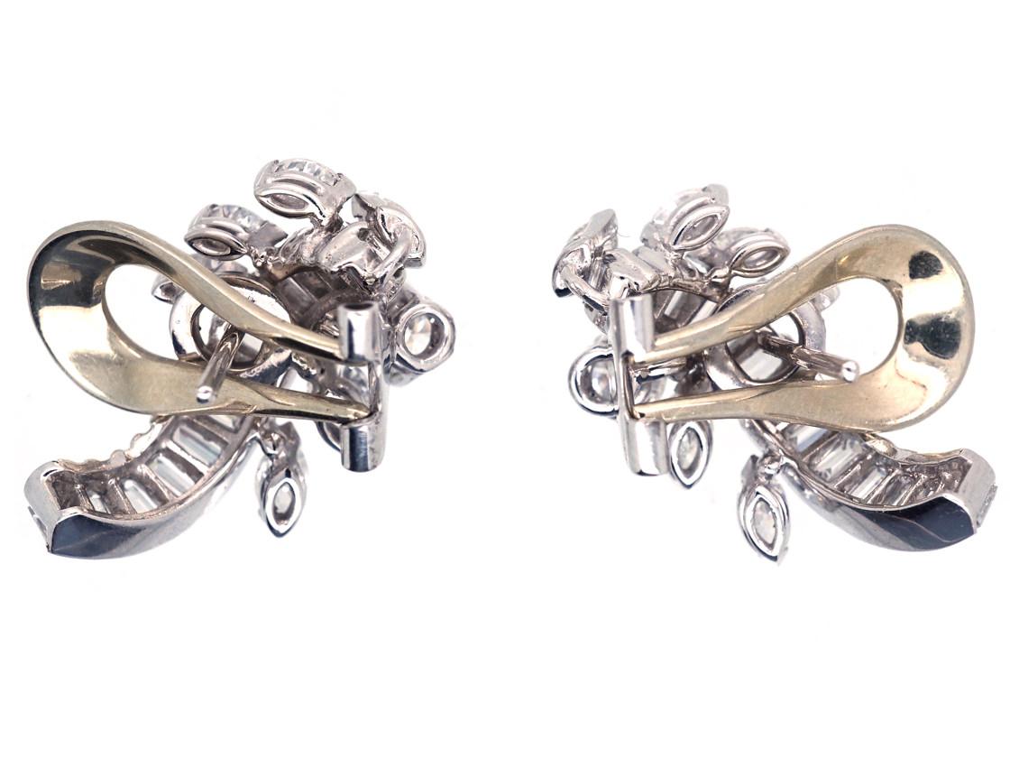 Diamond Clip & Post Leaf Design Earrings