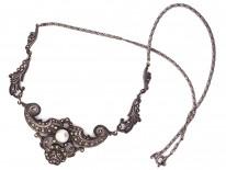 Art Deco Silver & Marcasite Foliate Necklace
