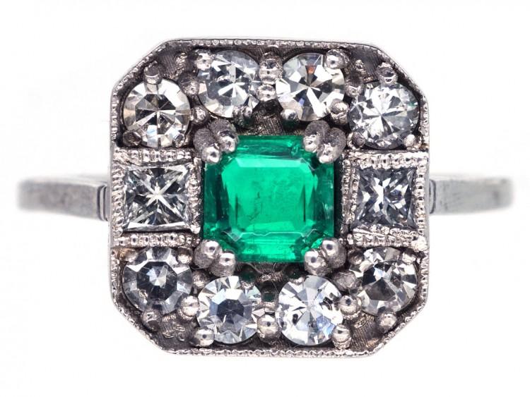 d650abd4e24edc 18ct White Gold, Emerald & Diamond Square Ring - The Antique ...