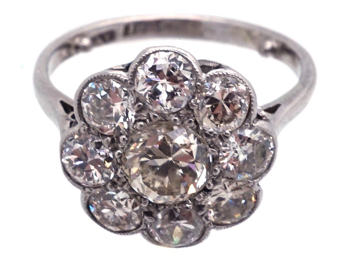 Edwardian 18ct Gold & Platinum Large Diamond Cluster Ring