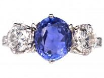 Sapphire & Diamond Three Stone Ring