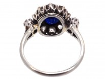 Edwardian Sapphire & Diamond Cluster Ring with Diamond Shoulders