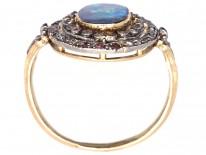 Edwardian Black Opal & Diamond Oval Cluster Ring