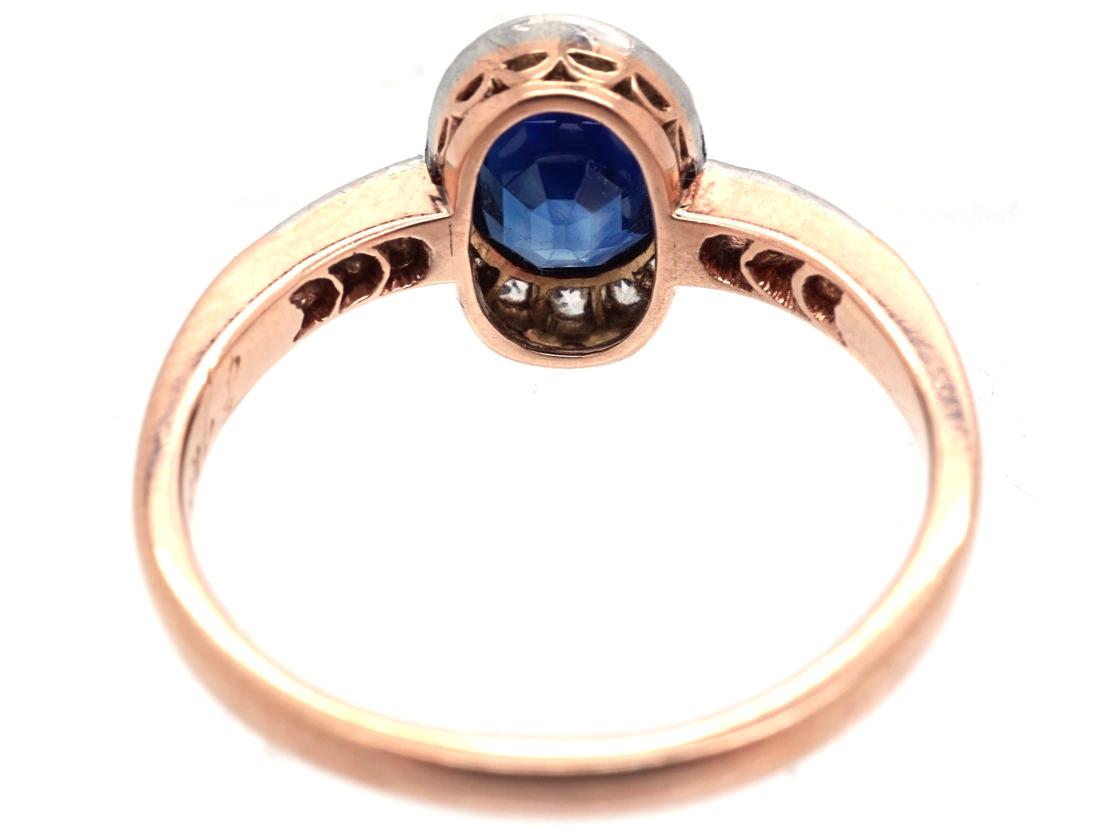 Art Deco Oval Sapphire & Diamond Ring with Diamond Shoulders
